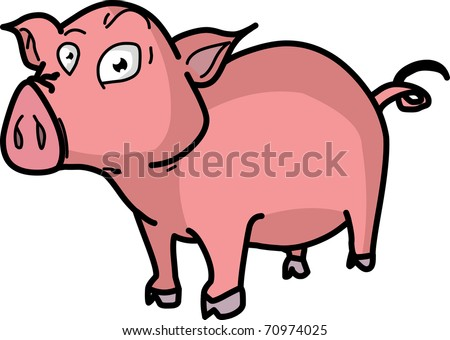 Funny Pink Pig Illustration Isolated on White Background