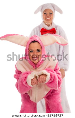 Funny pink rabbit against white rabbit isolated on white background - stock photo