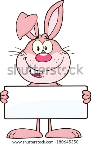 Funny Pink Rabbit Cartoon Character Holding A Banner. Raster Illustration Isolated on white - stock photo