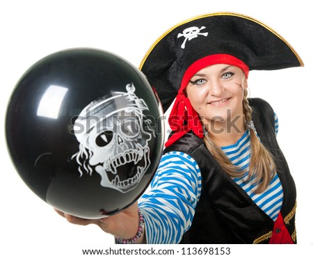 Funny pirate with black balloon on white background