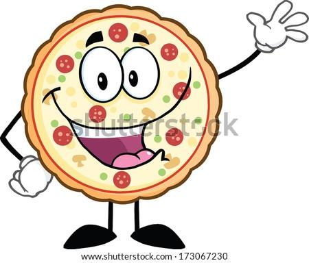 Funny Pizza Cartoon Mascot Character Waving. Raster Illustration Isolated on white - stock photo