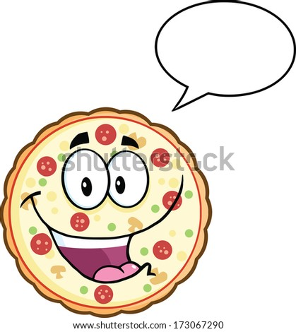 Funny Pizza Cartoon Mascot Character With Speech Bubble. Raster Illustration Isolated on white - stock photo