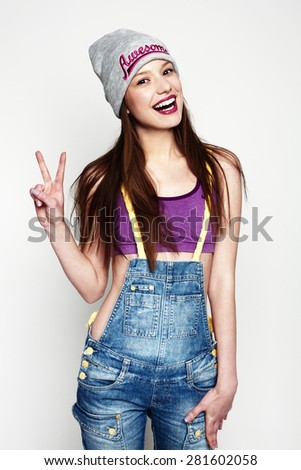 funny playful girl - stock photo
