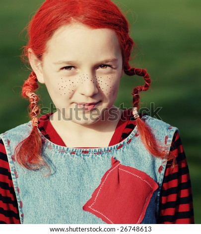funny portrait - girl with orange hair