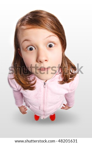funny portrait of a little girl - stock photo