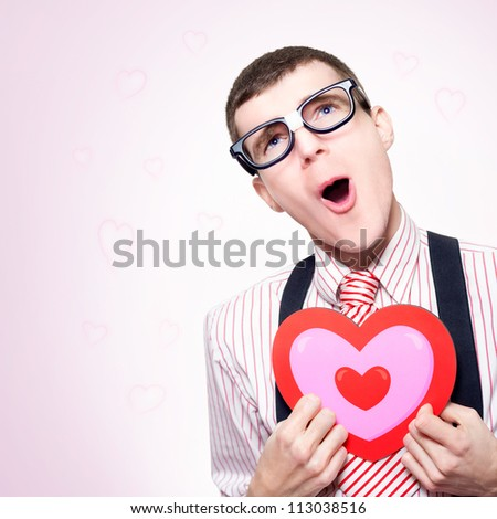 Funny Portrait Of A Romantic Nerd Dreaming Of A Long Lost Love His Dorky Heart Still Aches For, On Pink Heart Shaped Background