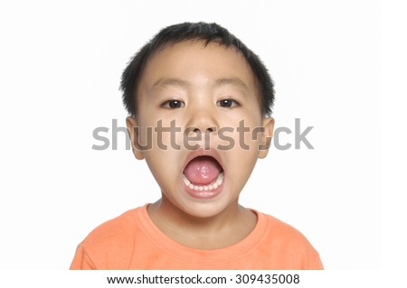 Funny portrait of little child-close up