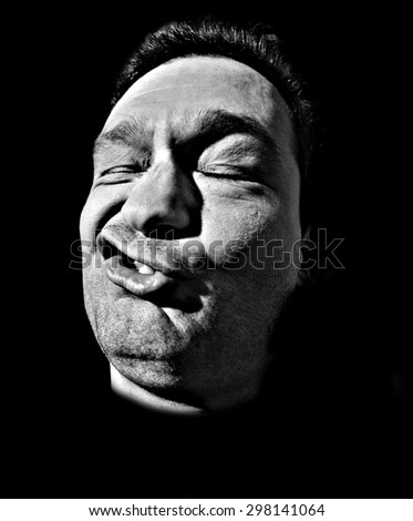 Funny Portrait of Man / Funny Man / Caricature face  - stock photo
