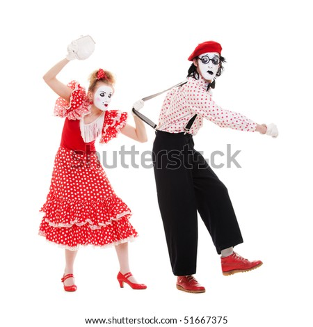 funny portrait of mimes. angry woman beating man. isolated on white background - stock photo
