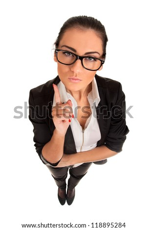 Funny portrait of serious woman - stock photo