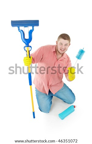 Funny portrait of standing cleaner. Isolated over white. - stock photo