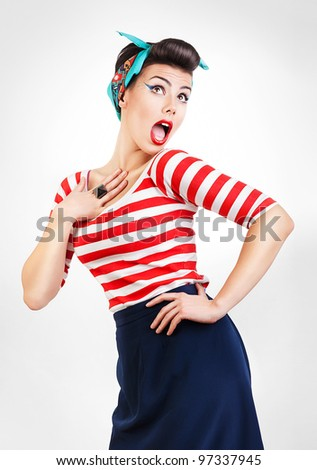 funny portrait of surprised woman with red lips - stock photo