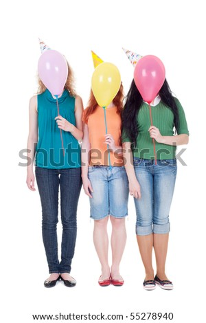 funny portrait of three girls with balloons. isolated on white background - stock photo