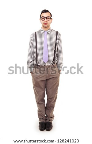 Funny portrait of young nerd with eyeglasses isolated on white background. Full body. - stock photo