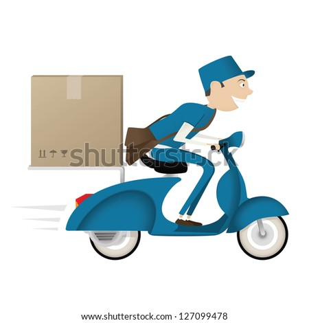 Funny postman delivering package on blue scooter isolated on white background - stock photo