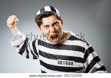 funny prison inmate in concept   stock photo