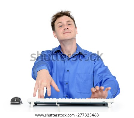 Funny programmer at work on white background - stock photo