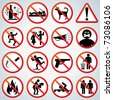 Funny Prohibited and Alerting Signs, Icons collection - stock vector