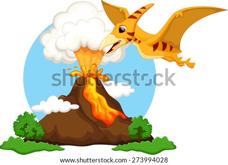 Funny pterodactyl flying with background volcanoes - stock photo