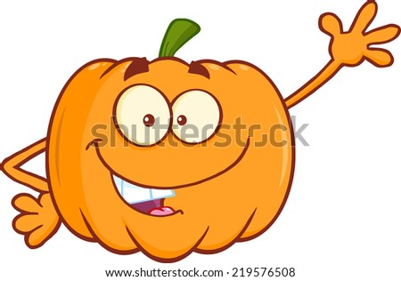 Funny Pumpkin Cartoon Mascot Character Waving For Greeting. Raster Illustration - stock photo
