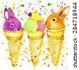 Funny rabbits and popsicles T-shirt graphics, rabbits  illustration with splash watercolor textured background. illustration watercolor rabbits  fashion print, poster,  textiles, fashion design - stock vector