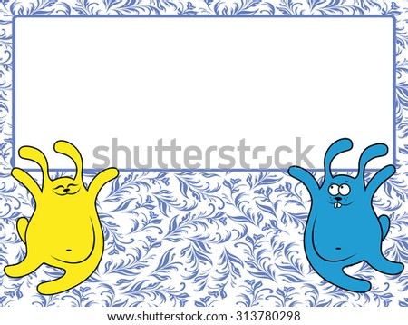 Funny rabbits holding a big advertising banner, illustration on the blue seamless floral background - stock photo