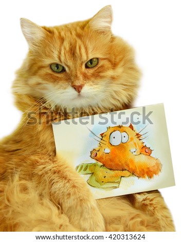 Funny red cat holding notice sheet. Isolated image. - stock photo