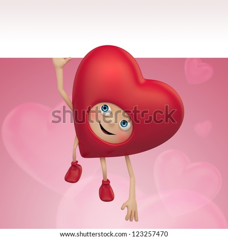 funny red heart cartoon holding banner. Valentine day greeting. Three dimensional character render