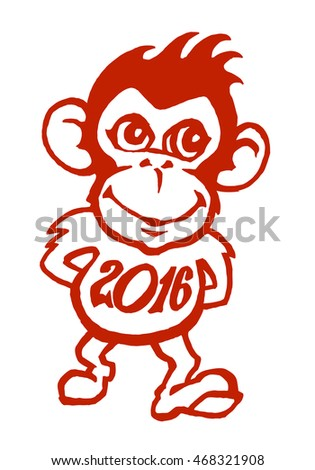 Funny red monkey smiling and walking with 2016 year shirt