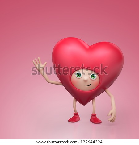 funny red Valentine cartoon heart character isolated on pink - stock photo
