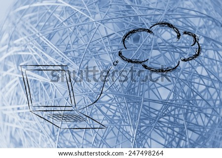 funny representation of cloud computing, cloud and sketched plug - stock photo