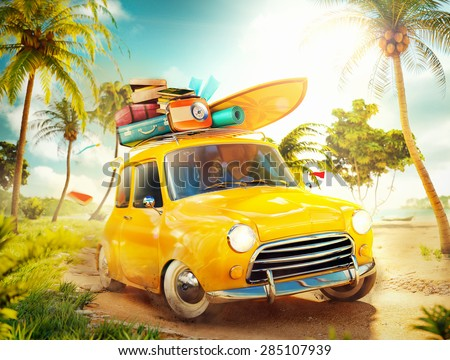 funny retro car surfboard suitcases on stock illustration 285107939 shutterstock. Black Bedroom Furniture Sets. Home Design Ideas