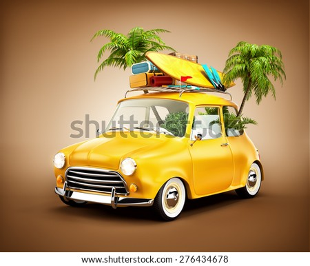 Funny retro car with surfboard, suitcases and palms. Unusual summer travel illustration  - stock photo