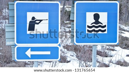 funny road signs - stock photo
