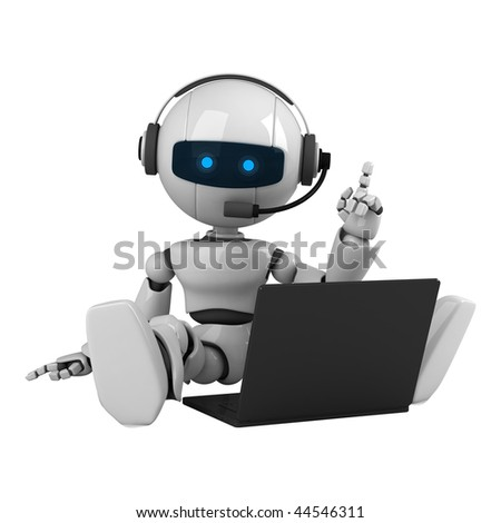 Funny robot sit with headphone - stock photo