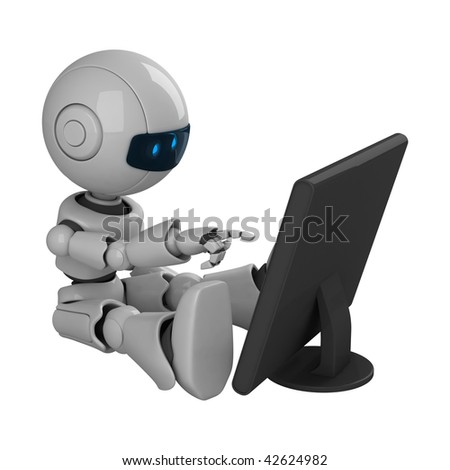Funny robot sit with monitor