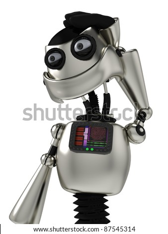 funny robot thinking about close up