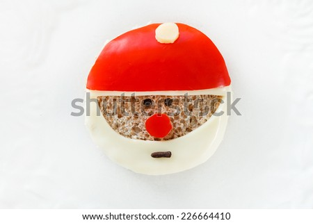 funny sandwich with santa claus - stock photo