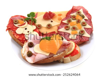 funny sandwiches for children - stock photo