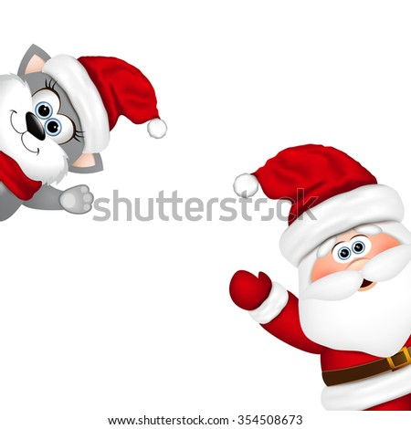Funny Santa and cat on white background.