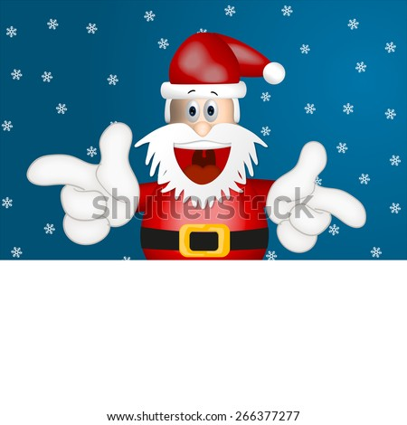 Funny santa claus advertising space placeholder cartoon blue