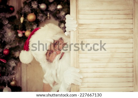 Funny Santa Claus. Christmas holiday concept - stock photo