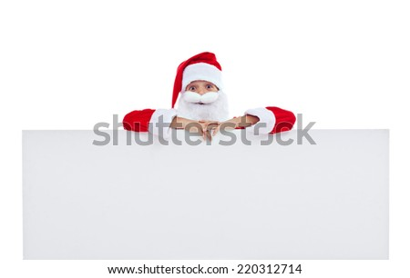 Funny Santa laughing with large banner - isolated - stock photo