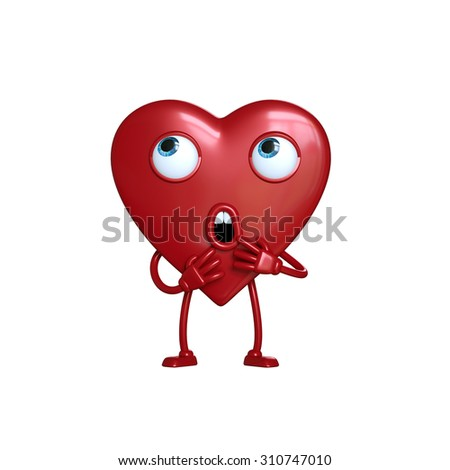 funny scared heart cartoon character standing, 3d digital illustration isolated on white background