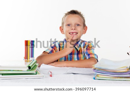 Funny school boy without milk tooth  - stock photo