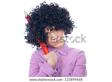 Funny schoolgirl with a big pen, isolated on white - stock photo