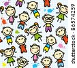 funny seamless pattern with hand drawn kids - stock photo