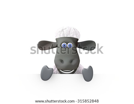 funny sheep showing a bottom blank space. 3d render - stock photo