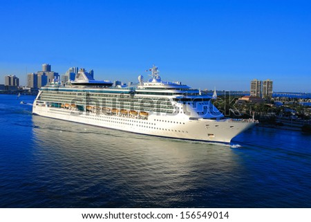 funny ship sailing from the pier in miami ,USA - stock photo