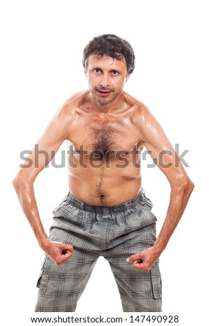 Funny shirtless man showing his body, isolated on white background - stock photo